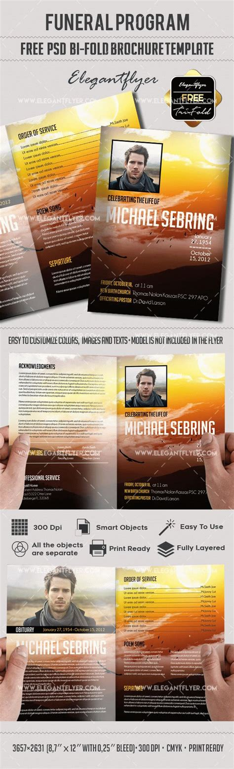 Free Editable Funeral Program Brochure By Elegantflyer Free Funeral Flyer Template Psd