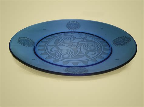 art plates handmade celtic knotwork crossed with steunk blue