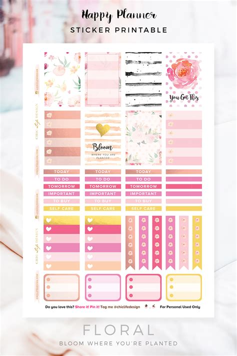free printable stickers happy planner happy planner floral sticker printable chic life design