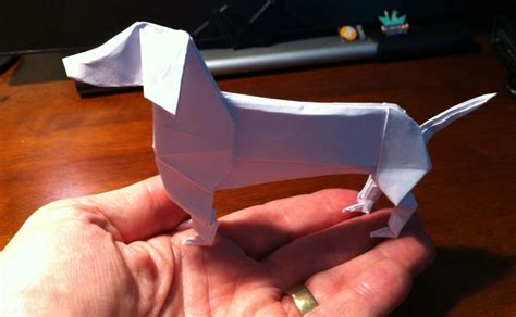Origami Dachshund - 290 dachshund setting the crease