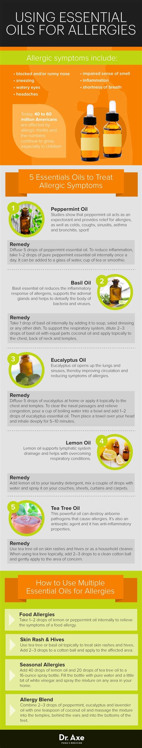 essential oils for allergies best essential oils for treating allergies infographic