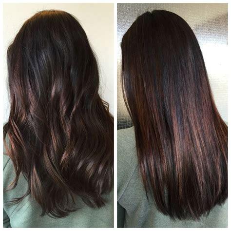 medium brown hair balayage pictures to pin on pinterest straight curly balayaged dark hair samat hiukset