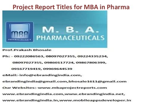 Mba Pharmaceutical by Project Report Titles For Mba In Pharma