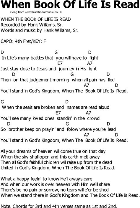 Old Country song lyrics with chords - When Book Of Life Is
