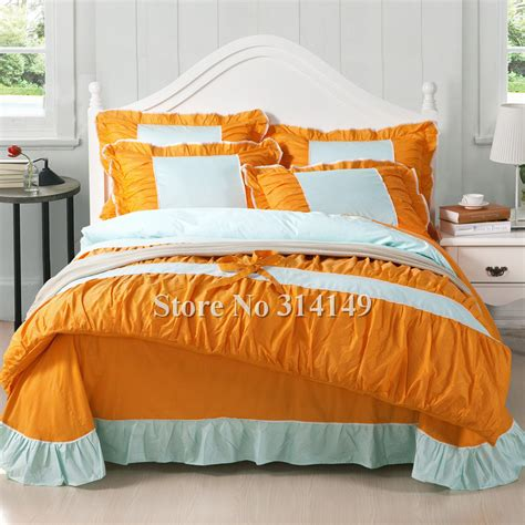 orange blue comforter wholesale 4pcs king queen girls orange blue bi color