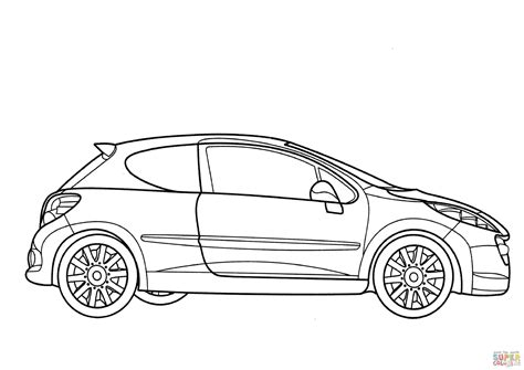 peugeot 207 rc car coloring page transportation sports