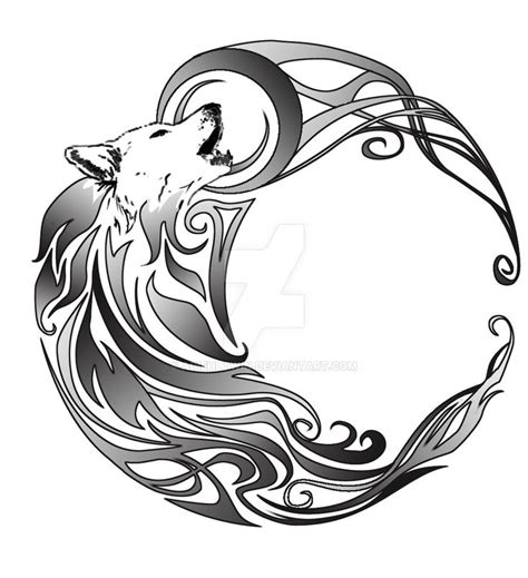 tribal wolf and moon tattoo best 25 tribal wolf ideas on tribal wolf