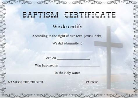 free water baptism certificate template 30 baptism certificate templates free sles word