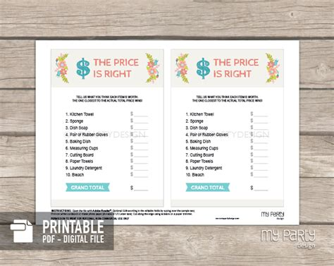 price is right bridal shower template search results for free printable baby shower templates
