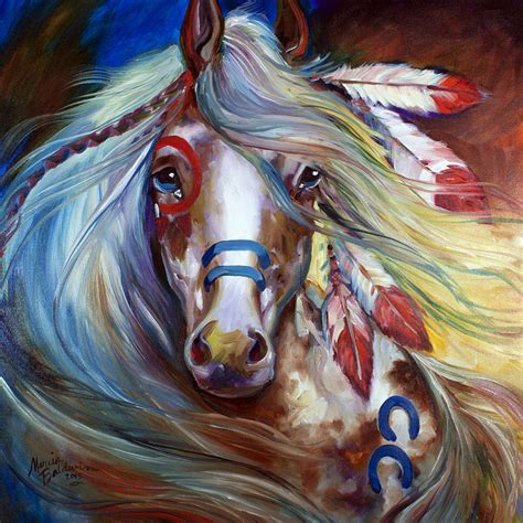 dream fearlessly fan fearless indian war horse painting by marcia baldwin