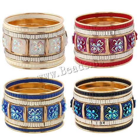 Flower Overall Inner One Set zinc alloy bangle set with resin flower gold color plated with painted colorful plated