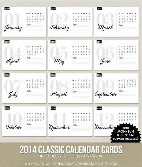 new 4x6 2014 classic calendar cards digital
