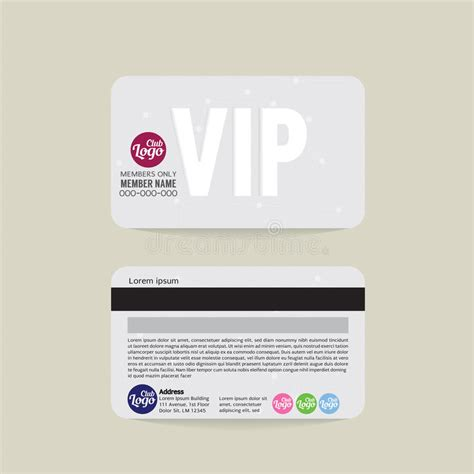 Illustrator Membership Card Template by Front And Back Vip Member Card Template Stock Vector