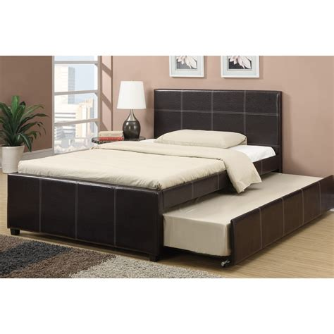 trundle bed with mattress included espresso faux leather full size bed with twin size trundle