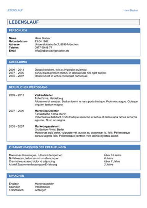 Lebenslauf Vorlagen Tabelarisch Lebenslauf Muster Und Vorlagen F 252 R Die Perfekte Bewerbung