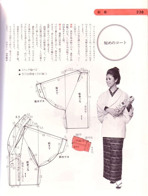 kimono clothing pattern jacket pattern from japanese sewing book dated 1975