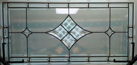 custom stained glass window panel bevels  clear