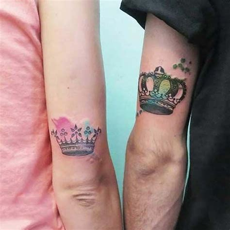 couple watercolor crown tattoo sevgili ta 231 d 246 vmesi renkli