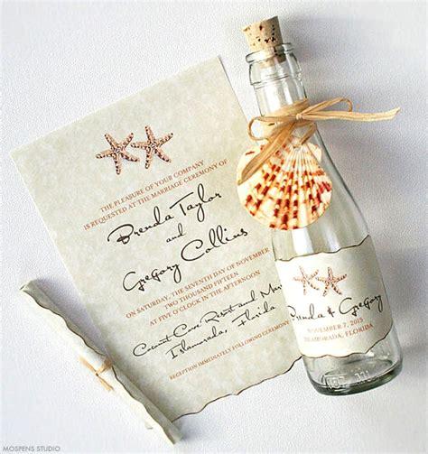 unique blue keepsake wedding invitations wedding invitations watercolor starfish glass bottles
