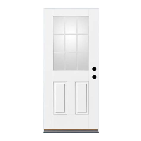 Exterior Outswing Door Shop Therma Tru Benchmark Doors 2 Panel Insulating 9 Lite Right Outswing Ready To