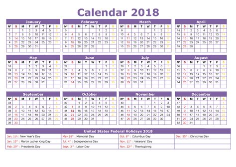 S Day Usa 2018 2018 Calendar Usa Federal Web E Calendar