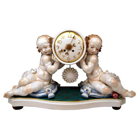 scowling rosa meissen tall rare mantle clock by paul scheurich circa