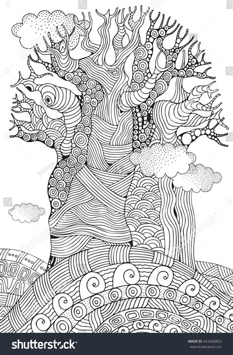baobab tree coloring page baobab tree african tree coloring book stock vector