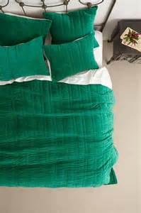 Green Coverlet Stitched Velvet Coverlet I Anthropologie