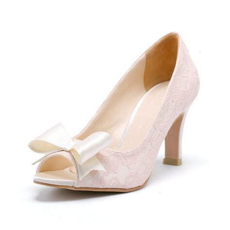 Pumps Spitze Ivory by Ivory Peep Toe Pumps Mit Rosa Spitze Ivory Brautschuhe