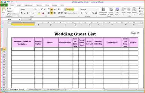 excel template list 6 wedding guest list template excel bookletemplate org