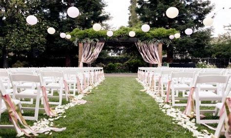 backyard ceremony ideas garden paper lanterns outdoor wedding ceremony decor