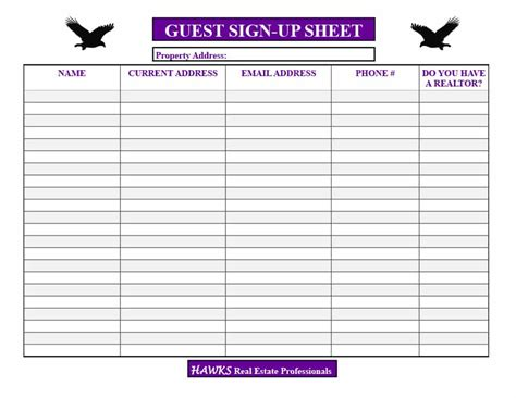 open house guest registration form template images free 18