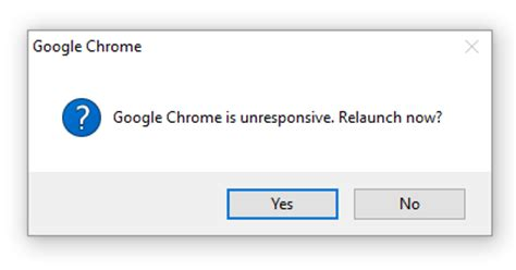 chrome unresponsive google chrome is unresponsive relaunch now solution