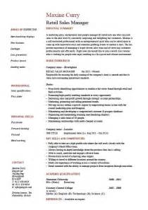 resume sles for sales manager retail sales manager resume exle description