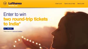 Sweepstakes India - win tickets for 2 in the lufthansa india sweepstakes