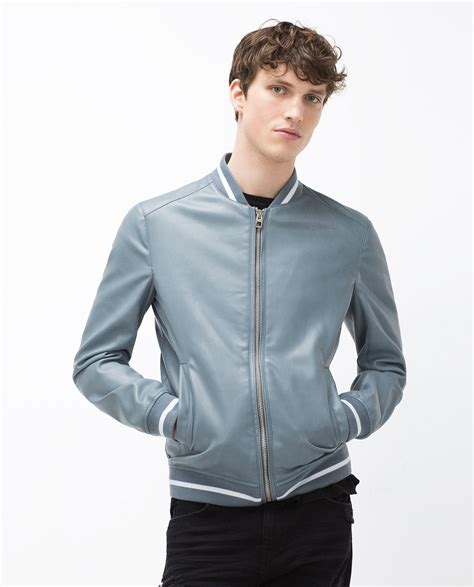 faux leather bomber zara faux leather bomber jacket in blue for lyst