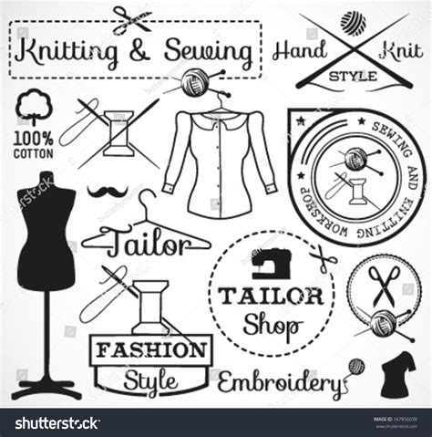 knitting signs knitting sewing labels badges signs vintage stock vector