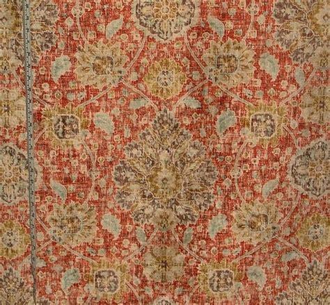 novelty upholstery fabric vintage persian rug fabric orange blue chenille velvet