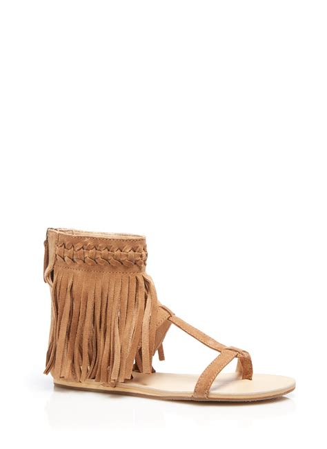 koolaburra fringe sandals koolaburra athena fringe sandal in brown chestnut lyst