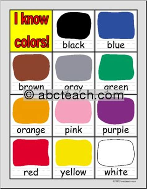 primary colors daycare 5 best images of preschool color chart classroom color