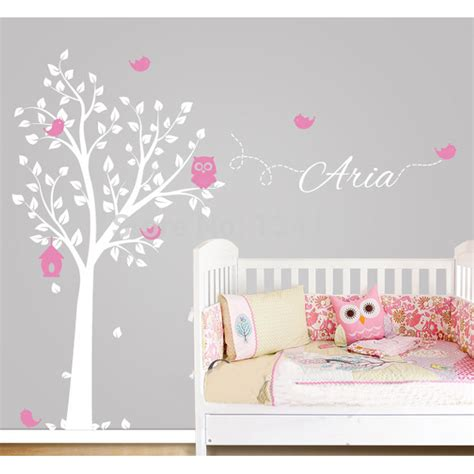 personalised home decor custom made owl tree personalized name vinyl wall decals