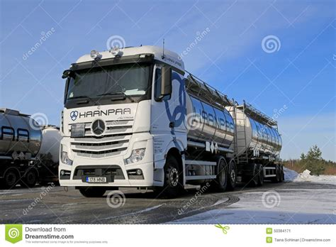 mercedes truck white white mercedes actros tank truck on icy yard