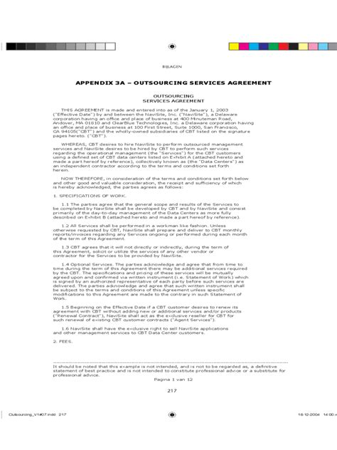 Outsourcing Agreement Format Letter outsourcing contract template 2 free templates in pdf