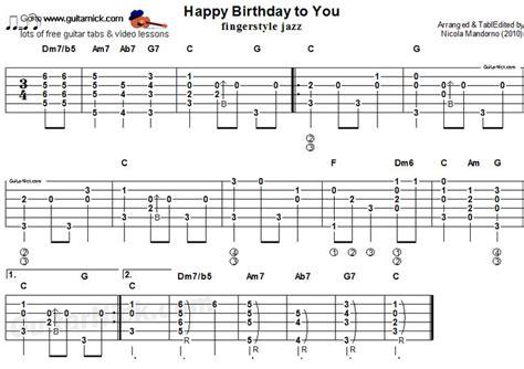 video tutorial fingerstyle guitarnick happy birthday to you quot acoustic fingerstyle