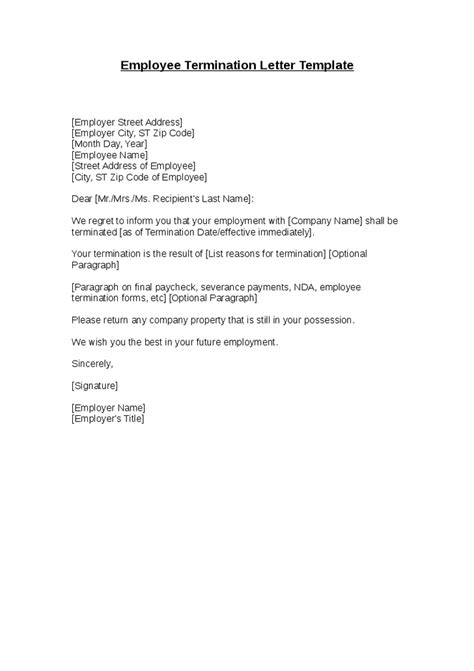 free termination letter template 32 free sample example awesome