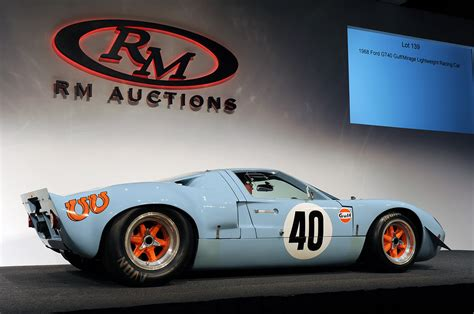 gulf gt40 1968 ford gt40 gulf mirage sets auction record at 11
