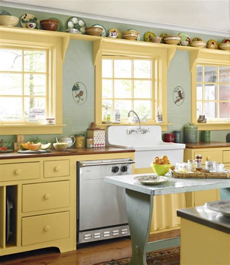 kitchens painted yellow colored kitchen cabinets