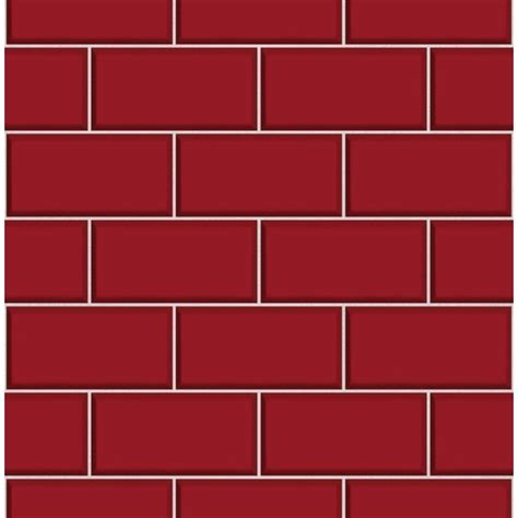 Wall Art For Bathrooms Ceramica Red Subway Tile Effect Wallpaper By Fine Decor
