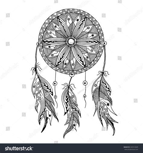 dream catcher doodle dreamcatcher feathers style zentangle doodle hand stock