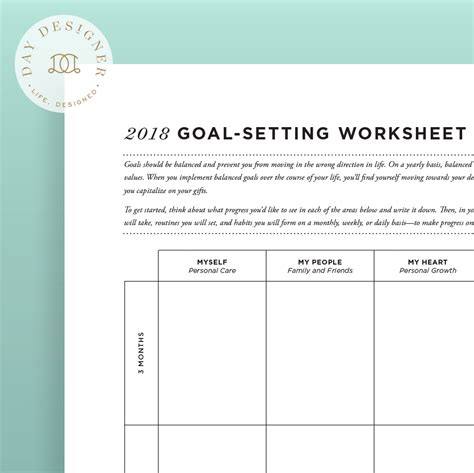 free printable goal planner 2018 2018 goal setting worksheet day designer